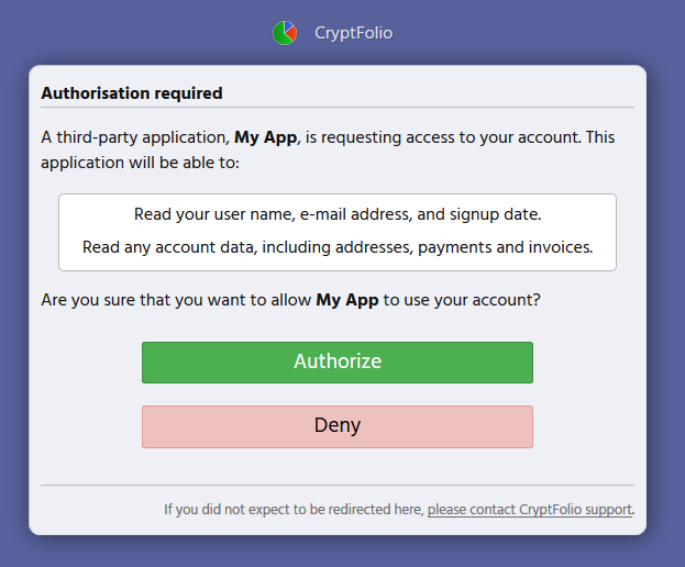Sample authorisation screen